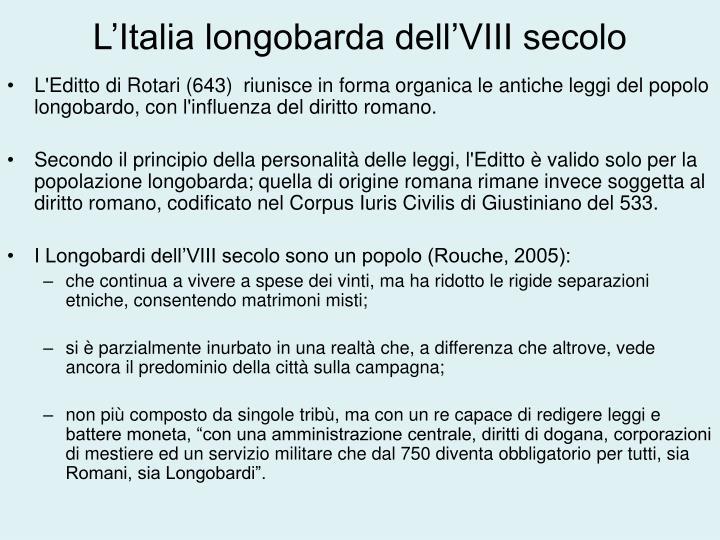 L'Italia longobarda dell'VIII secolo