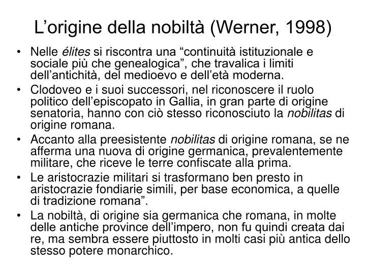 L'origine della nobiltà (Werner, 1998)