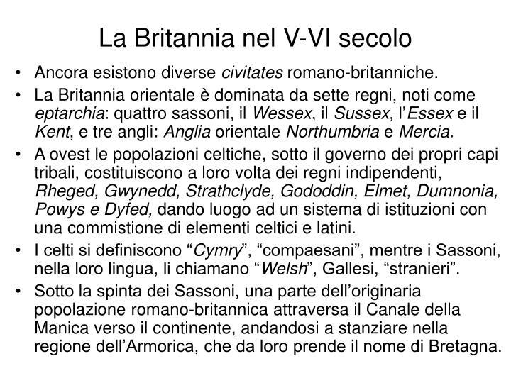 La Britannia nel V-VI secolo