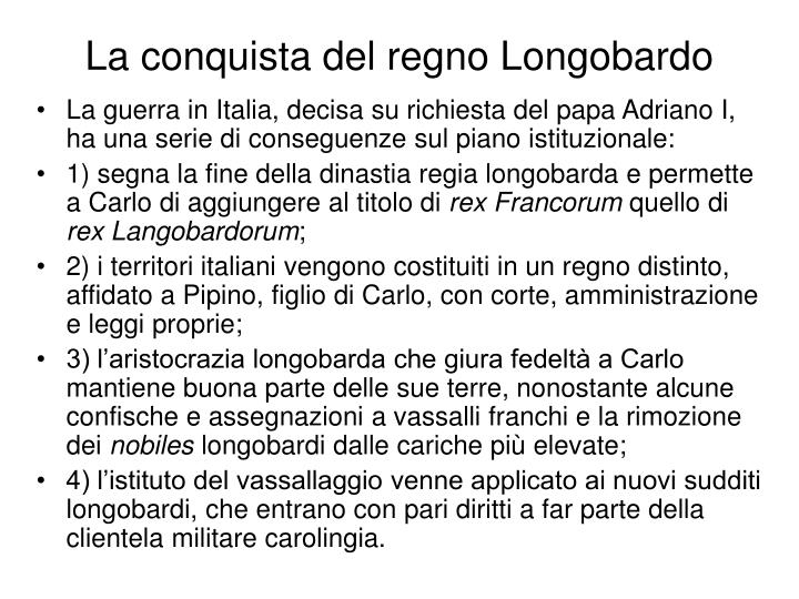 La conquista del regno Longobardo