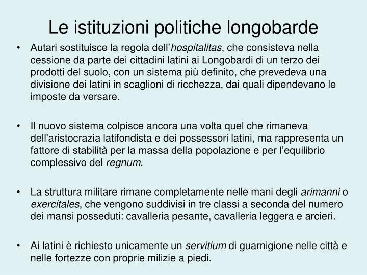 Le istituzioni politiche longobarde