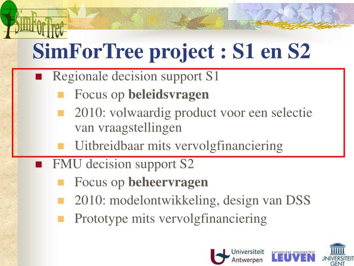 SimForTree project : S1 en S2