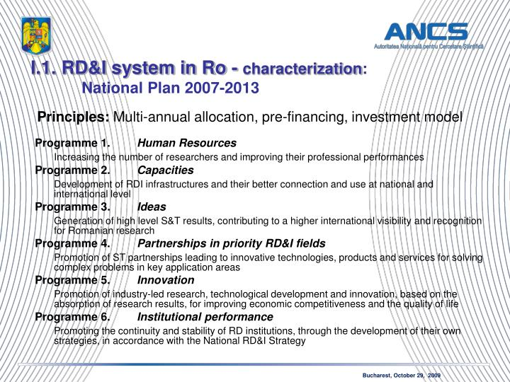 I.1. RD&I system in Ro -