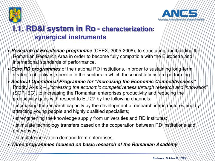 I.1. RD&I system in Ro