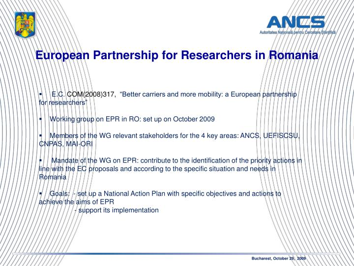 European Partnership for Researchers in Romania