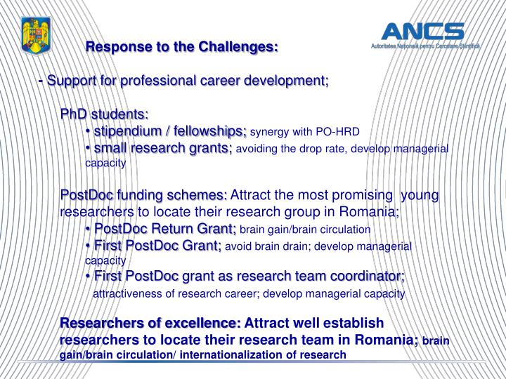 Response to the Challenges: