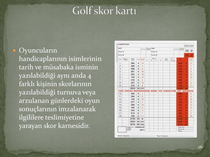 Golf skor kartı