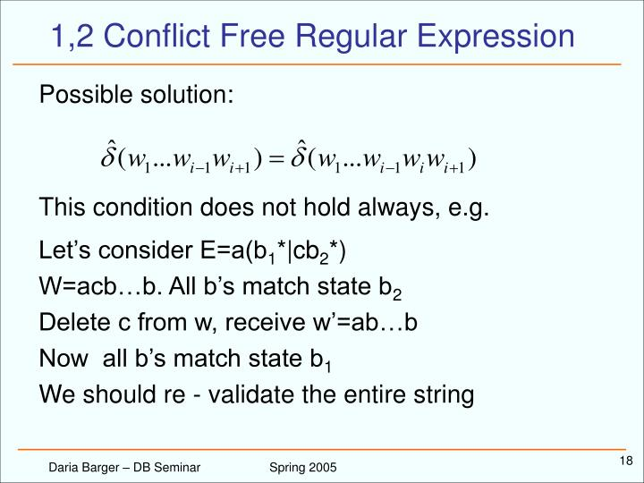 1,2 Conflict Free Regular Expression