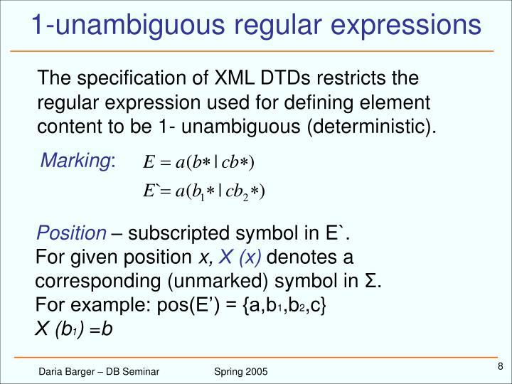 1-unambiguous regular expressions