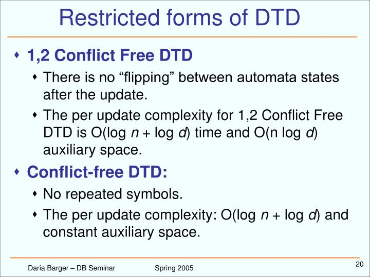 Restricted forms of DTD