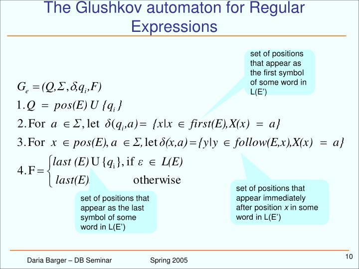 The Glushkov automaton for Regular Expressions