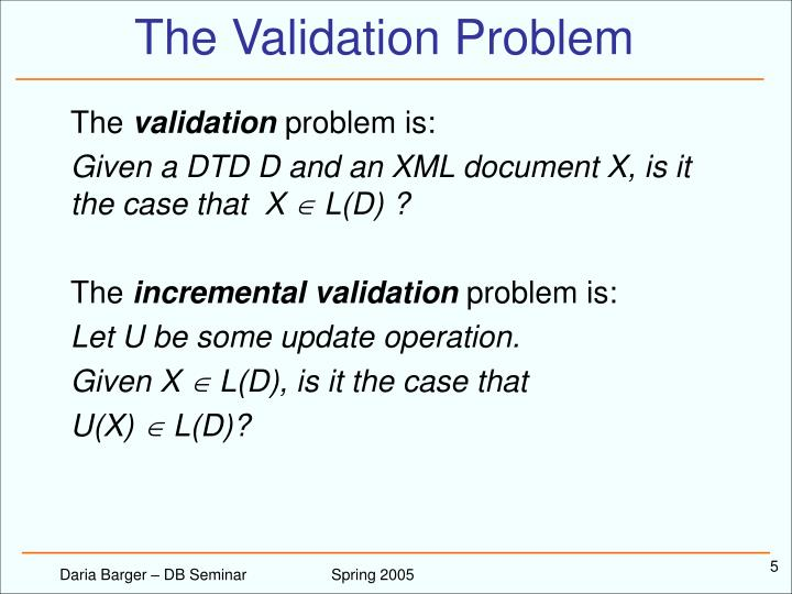 The Validation Problem
