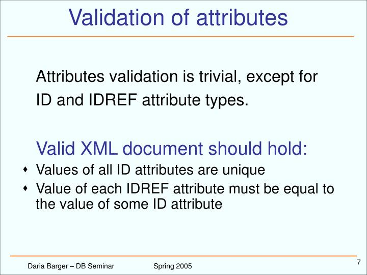 Validation of attributes