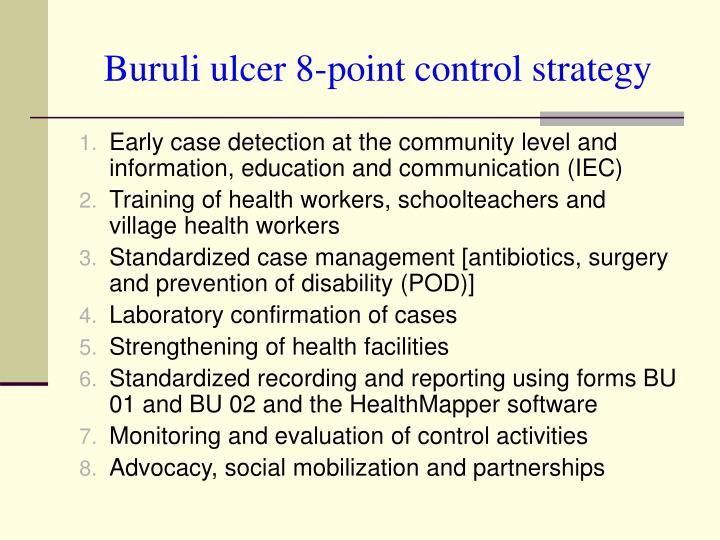 Buruli ulcer 8 point control strategy