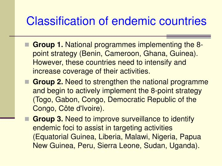 Classification of endemic countries