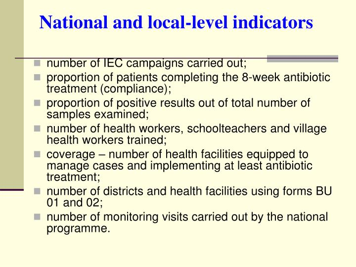 National and local-level indicators