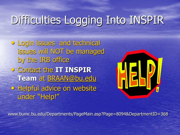 Difficulties Logging Into INSPIR