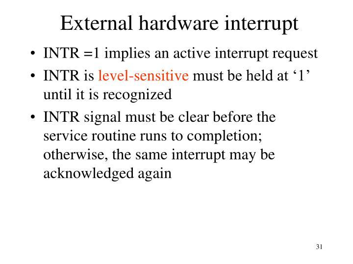 External hardware interrupt