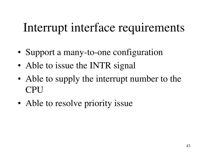 Interrupt interface requirements