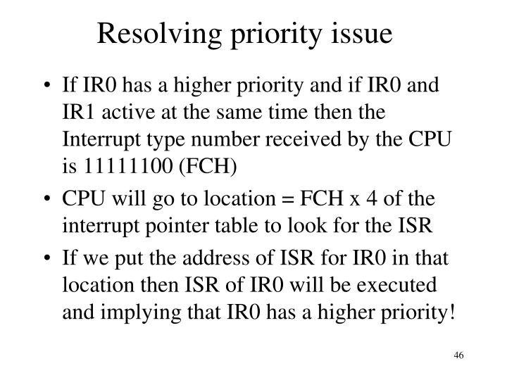 Resolving priority issue