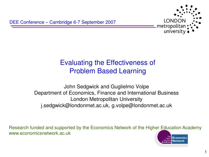 Evaluating the effectiveness of problem based learning
