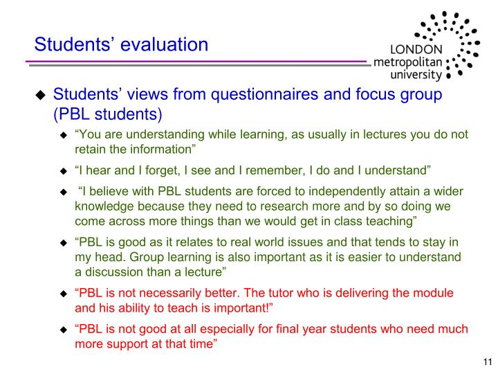 Students' evaluation