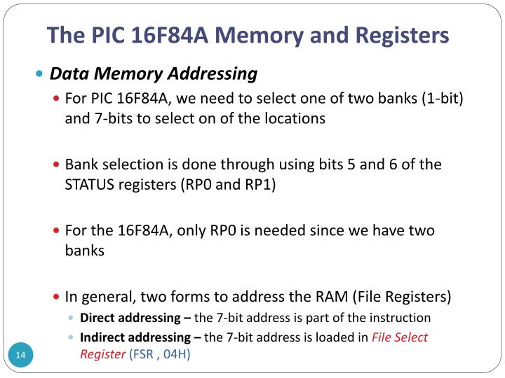 The PIC 16F84A Memory and Registers