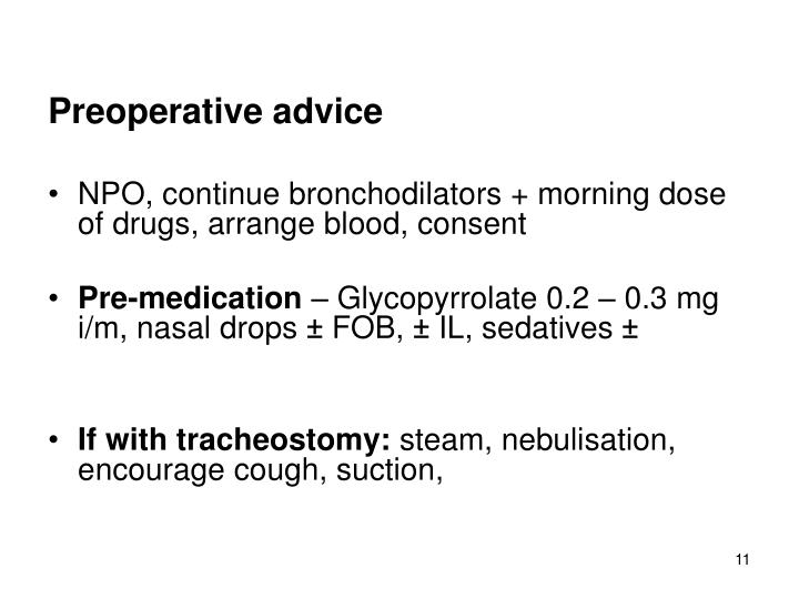 Preoperative advice