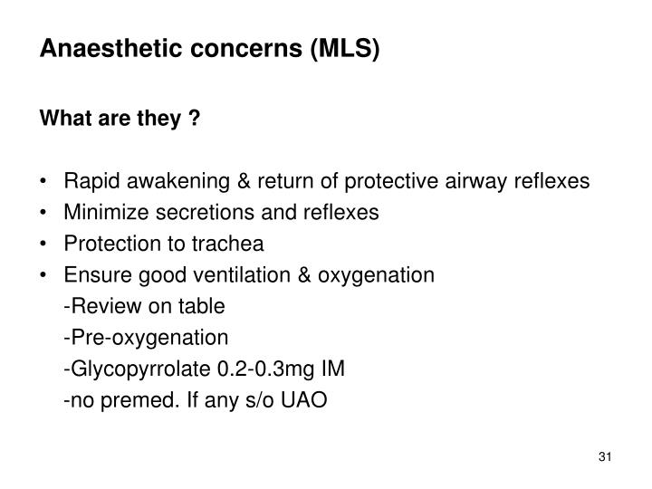 Anaesthetic concerns (MLS)