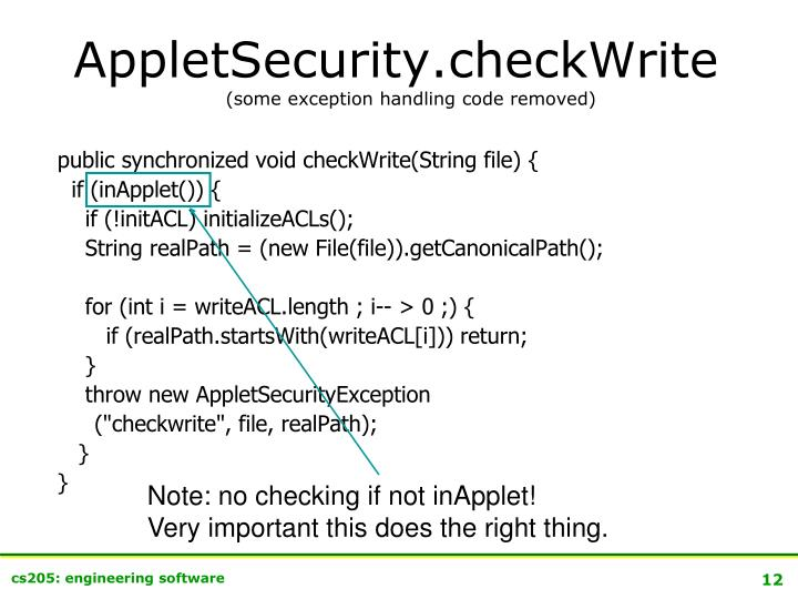 Note: no checking if not inApplet!