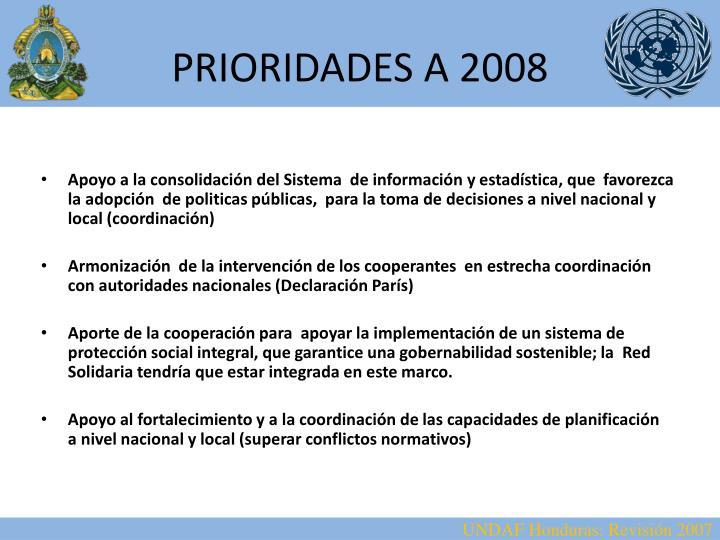PRIORIDADES A 2008