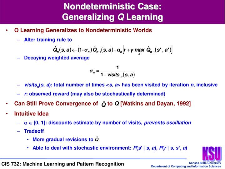 Q Learning Generalizes to Nondeterministic Worlds