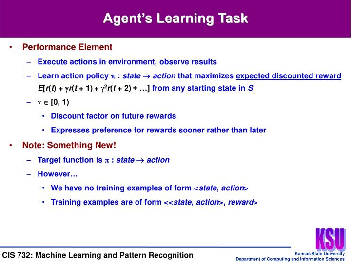 Agent's Learning Task