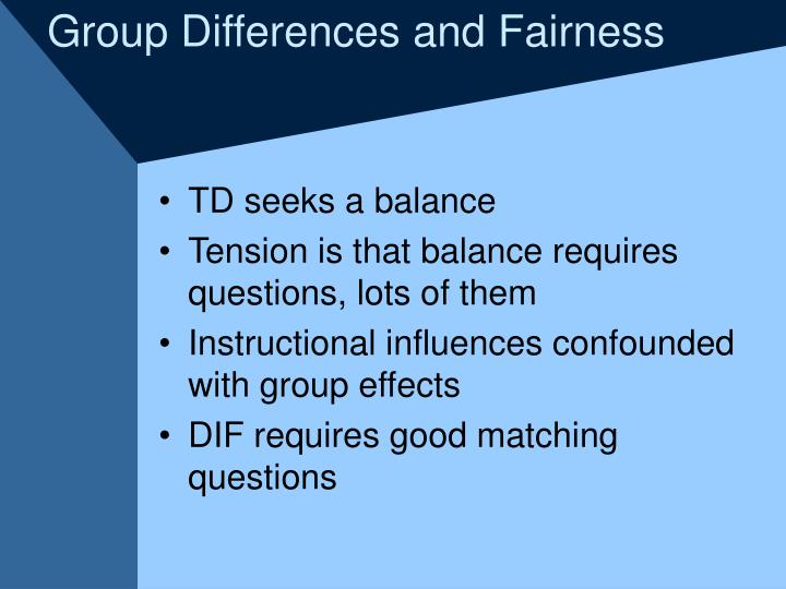 Group Differences and Fairness