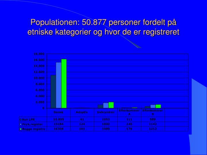 Populationen: 50.877 personer fordelt på etniske kategorier og hvor de er registreret