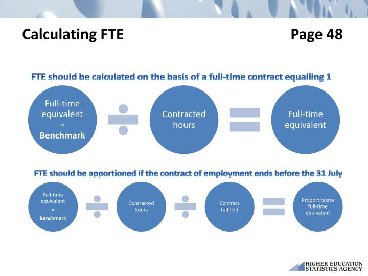 Calculating FTE                                             Page 48