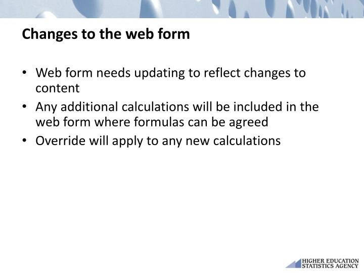 Changes to the web form