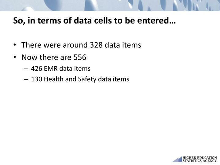 So, in terms of data cells to be entered…