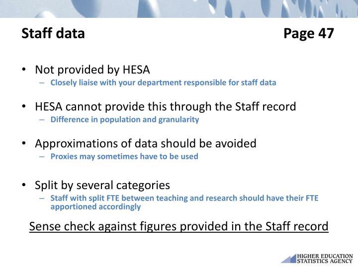 Staff data                                                       Page 47