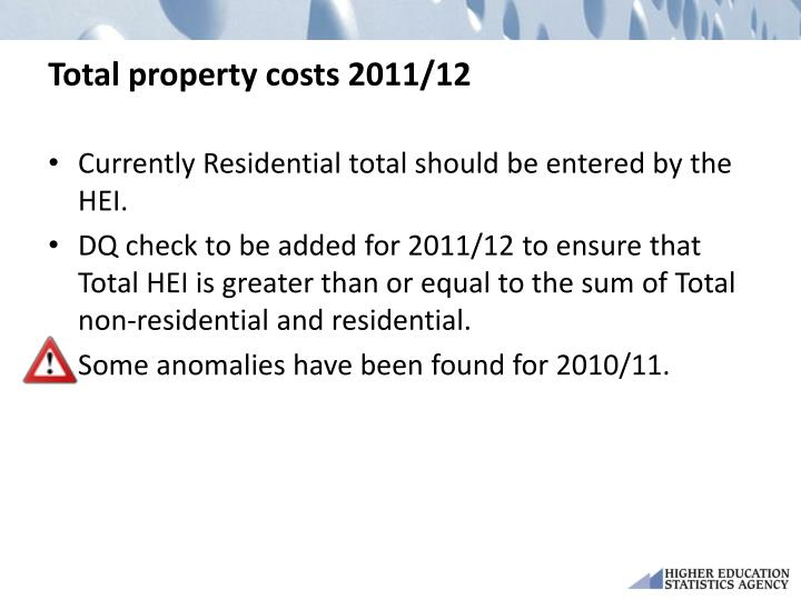 Total property costs 2011/12