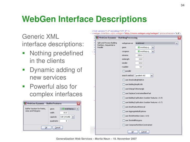 WebGen Interface Descriptions