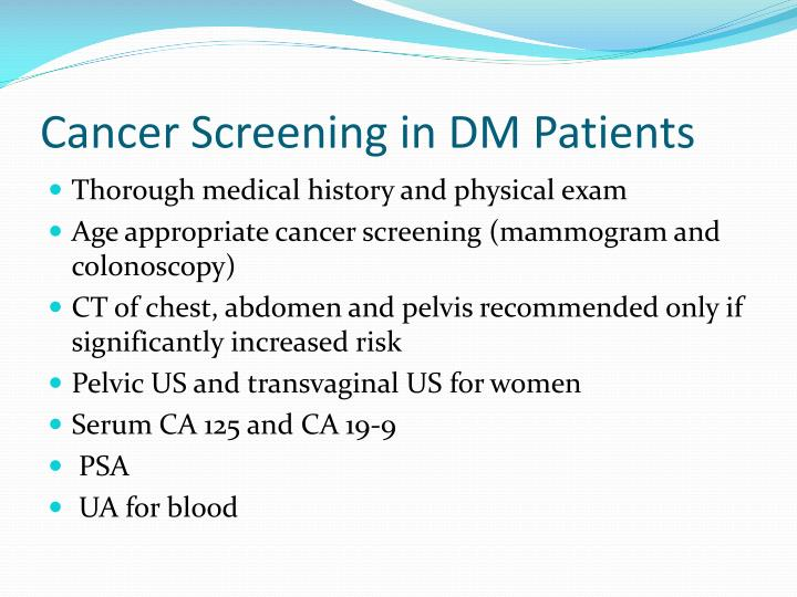 Cancer Screening in DM Patients