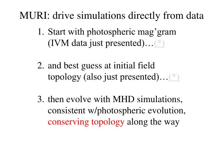 MURI: drive simulations directly from data