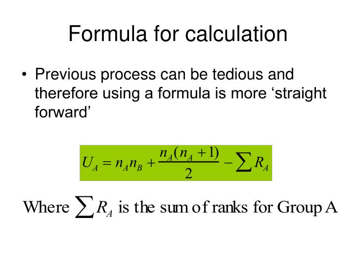 Formula for calculation