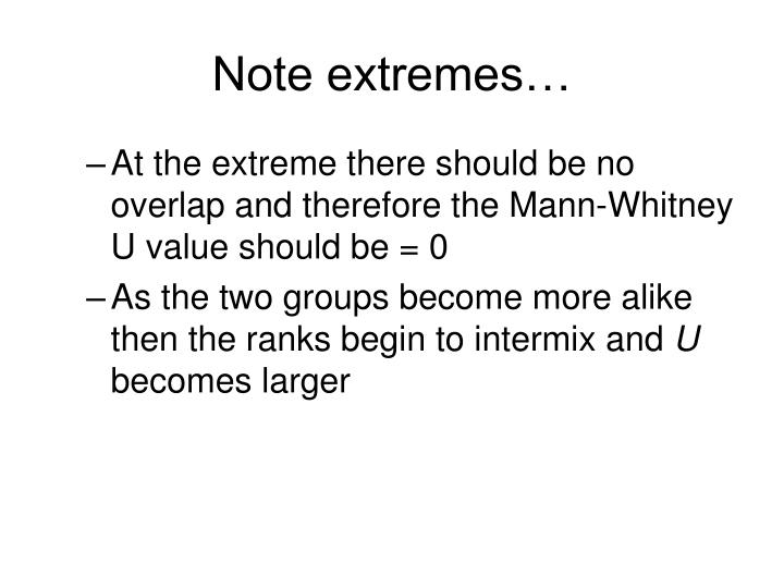 Note extremes…