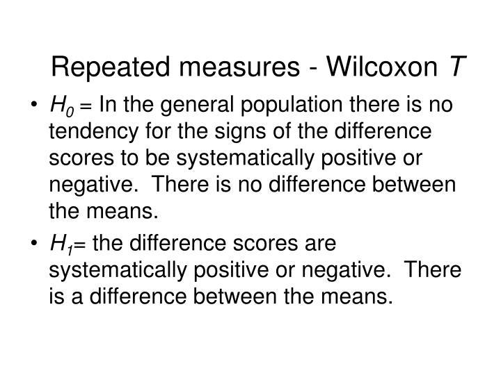 Repeated measures - Wilcoxon