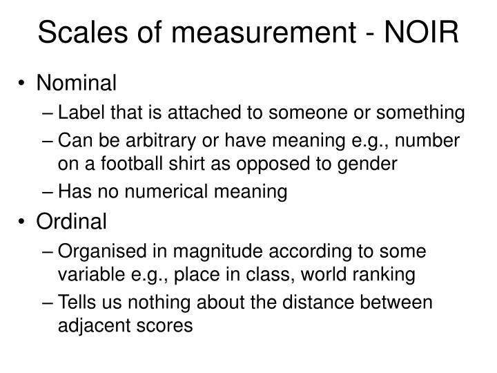 Scales of measurement - NOIR