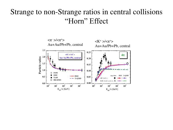 Strange to non-Strange ratios in central collisions