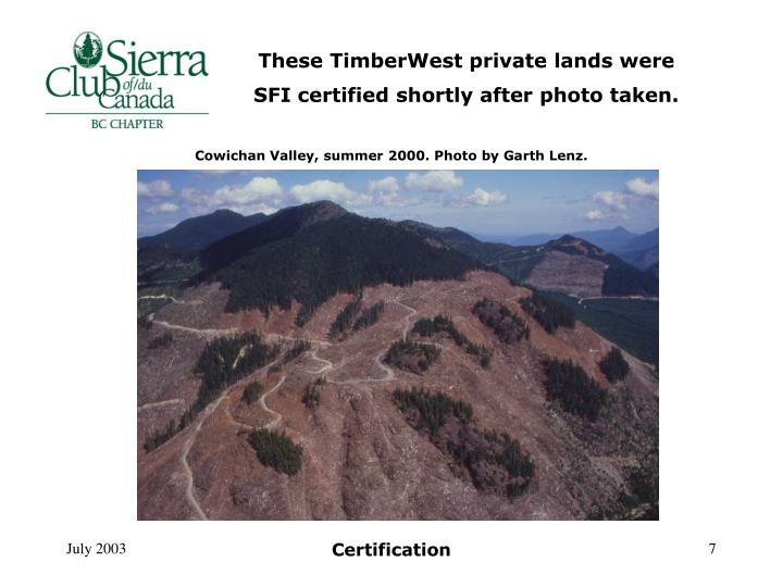 These TimberWest private lands were