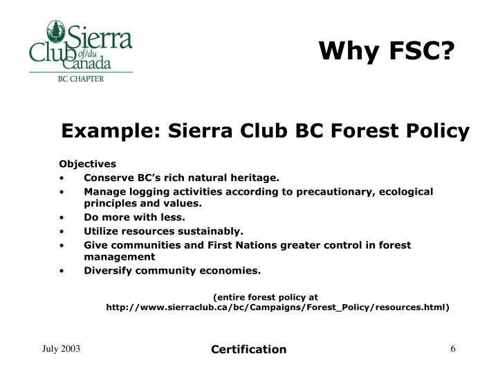 Why FSC?